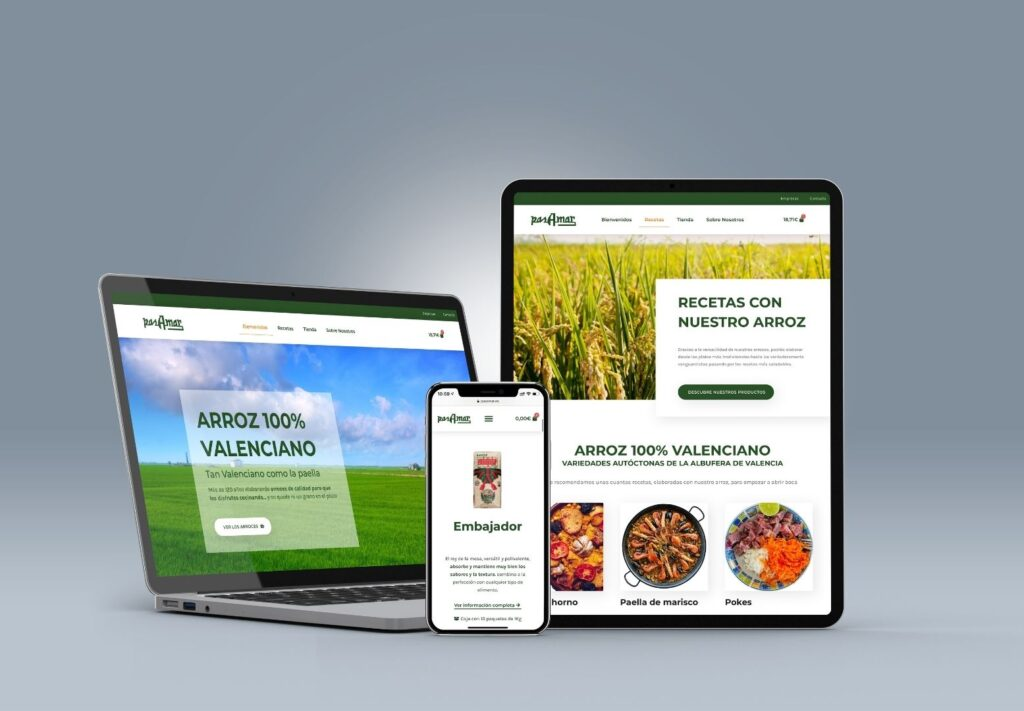 Diseño de páginas web para alimentación
